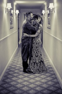 Asian bride and groom on their wedding day inside the Luton Hoo Hotel