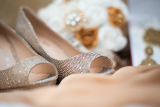 Silver pair of wedding shoes
