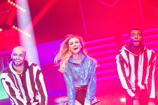 Perrie Edwards Little Mix laughing at concert