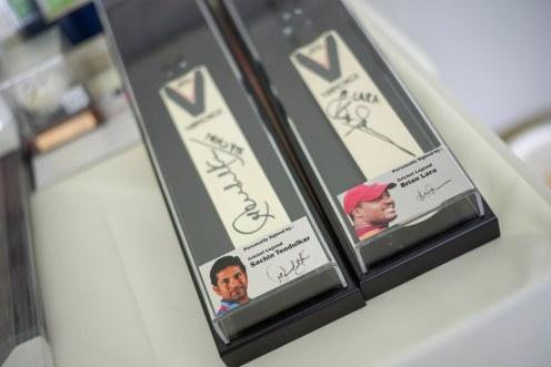 Sachin Tendulkar and Brian Lara signed cricket bats