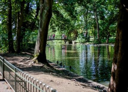 Lake, gardens and park