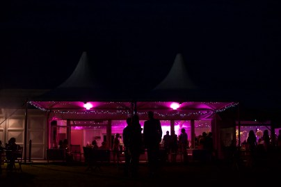 Night photograph of wedding guests Luton Hoo Walled Gardens