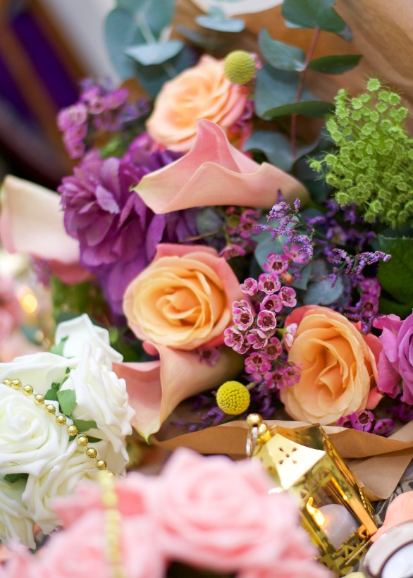 Purple, yellow, pink and white flower bouquet