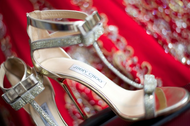 Jimmy Choo silver wedding shoes